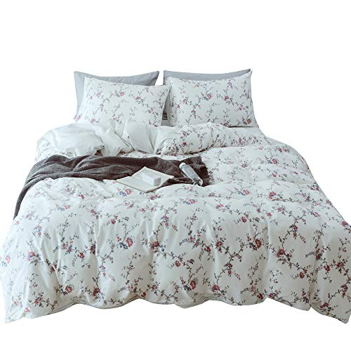(MKXI Flower Duvet Covers, White Floral Queen Bedding Set Rose Bed Set Soft Lightweight 100% Cotton Botanical Duvet Cover with 2 Pillow Shams)