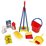 Click N' Play CNP40515 10-Piece Kids Pretend Play Cleaning Set, Water Bucket, Cleaning Agent Bottles, Broom, Mop, Duster, Wet Floor Sign, Brush and Dustpan