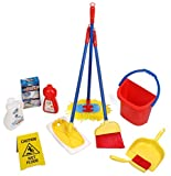 Click n' Play 10 Piece Kids Pretend Play Cleaning Set, Water Bucket, Cleaning Agent Bottles, Broom, Mop, Duster, Wet Floor Sign, Brush and Dustpan