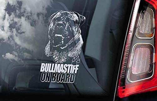 V03 CELYCASY Bullmastiff on Board Car Window Sticker Bull Mastiff Dog Sign Decal