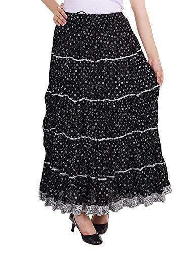 Women's Cotton Elastic Drawstring Waist Lace A-Line Long Skirt (One Size, Black-1)