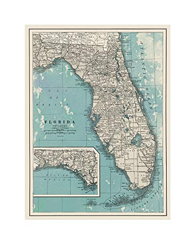 - Giclee Map of Florida - Large Vintage Map of The Sunshine State - Ready to Frame (Size 24 x 30 inches) - Great Housewarming Gift, Birthday Present, Home Decor