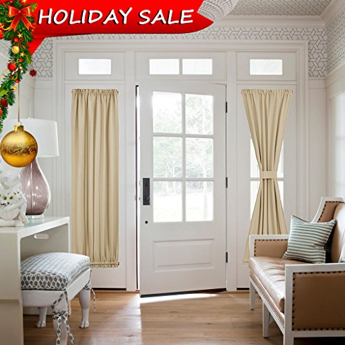 Room Darkening Sidelight Door Panel - Window Treatment Thermal Insulated French Door Curtain for Privacy by NICETOWN (One Panel, 25
