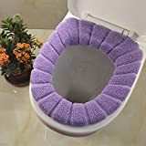 2pcs Bathroom Soft Thicker Warmer Stretchable Washable Cloth Toilet Seat Cover Pads, 2PCS (Purple)