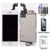 cellphoneage For iPhone 5S New LCD Touch Screen Replacement with Home Button and Camera Full Set Digitizer Diplay Assembly Replacement White + Free Tool Kits + Free Screen Protector