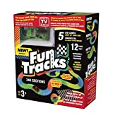 Fun Tracks 240 Piece Glow In The Dark Racetrack and Car Set Flexible Tracks Bend Like Magic For Hours of Fun