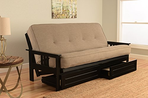 Mission Style Black Wood Frame Futon with Storage Drawers Convertible Full Size Innerspring Mattress Cover-Use As Bed Sofa Sofabed Or Couch -Comfortable Furniture For Sleeping Lounging Sitting