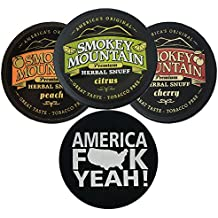 Smokey Mountain Herbal Snuff/Chew - 3ct Citrus, Peach, and Cherry - Includes DC Skin Can Cover (America Skin)