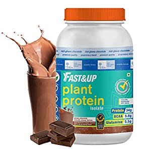 Fast&Up Plant Protein (1.3Kg) 30g Protein 100% Organic Daily Vital Nutrition Vegan Protein Drink For Men & Women…