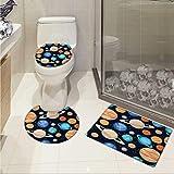 Galaxy toilet mat set Cute Galaxy Space Art Solar System Planets Mars Mercury Uranus Jupiter Venus Kids Print 3D digital printing Rug Set Multi