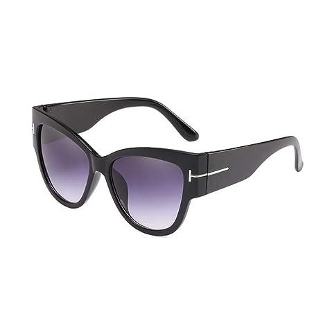 Yangjing-hl Señoras Cat Eye Sunglasses Mujeres Brand Big T ...