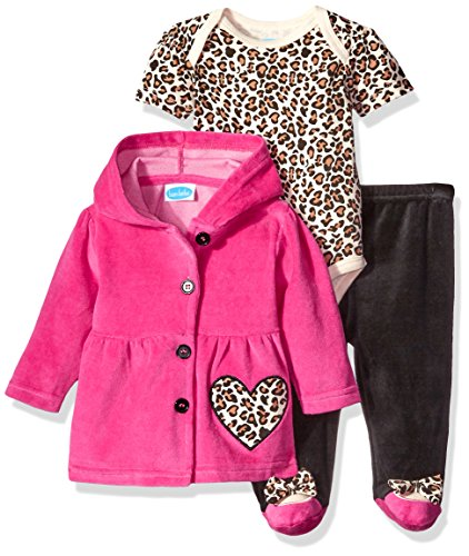 BON BEBE Baby Girls' 3 Piece Set with Velour Jacket Pant and Bodysuit