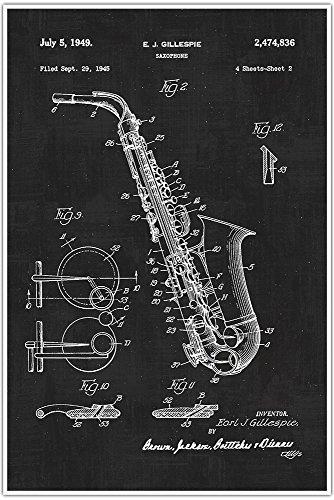 Saxophone, Musical Instrument, Blueprint Patent, Patent