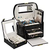 ROWLING Large Faux Leather Jewelry Case Storage Box Watch Box Cosmetic Case 152 (Black)