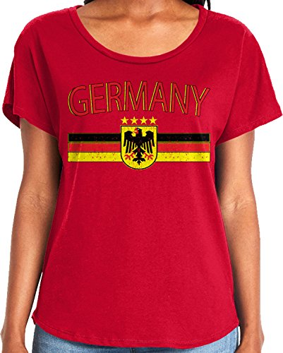 Amdesco Ladies Germany Flag and German Eagle Crest Dolman T-Shirt, Red Medium