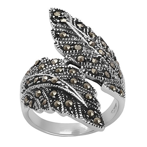 Silverly Women's .925 Sterling Silver Simulated Marcasite Oxidised Overlapping Feather Ring