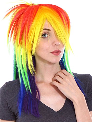 [Simplicity Little Pony Rainbow Wig with Long Wig Tail Set for Cosplay Costume] (Rainbow Spiky Wig)