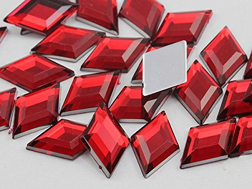 18x11mm Red Ruby H103 Flat Back Diamond Acrylic Gems High Quality Pro Grade - 35 Pieces