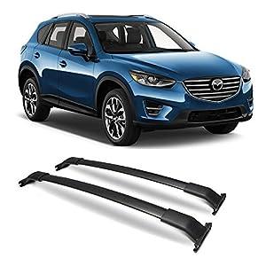 Crossbars Fits 2013-2016 Mazda CX-5 | OE Style Aluminum Cross Bar Roof Rack Black Cap Set By IKON MOTORSPORTS | 2014 2015