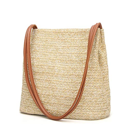 HaloVa Women's Handbag, Fashion Beautiful Straw Woven Tote, Large Summer Beach Shoulder Bag, Brown