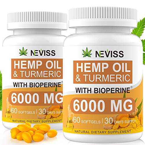 (2-Pack) Hemp Oil Capsule Softgels with Turmeric & Bioperine - 60 Cts