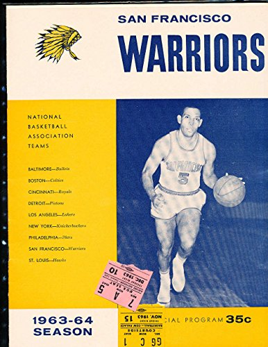 (1963 11/15 amp; 12/10 Warriors vs Detroit Pistons Basketball Program NM amp; 2 ticket)