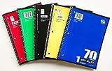 Norcom 1 Subject, 70 Sheet, Spiral Notebook Wide Ruled 5 Pack
