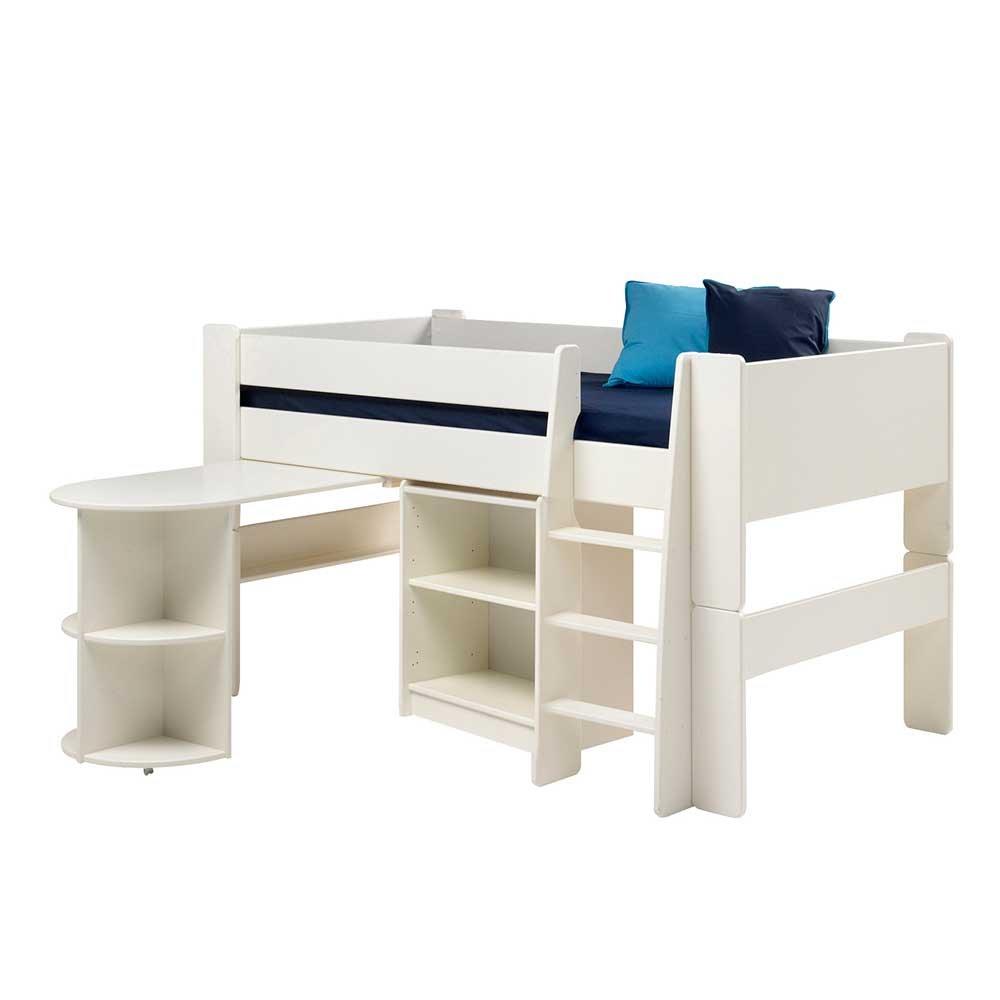 Pharao24 Halbhochbett mit Schreibtisch Weiß