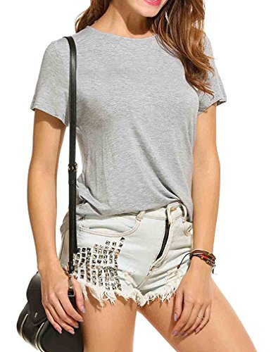 Qearal Women Round Neck Panel Short Sleeves Loose Top Gray (S, Gray)