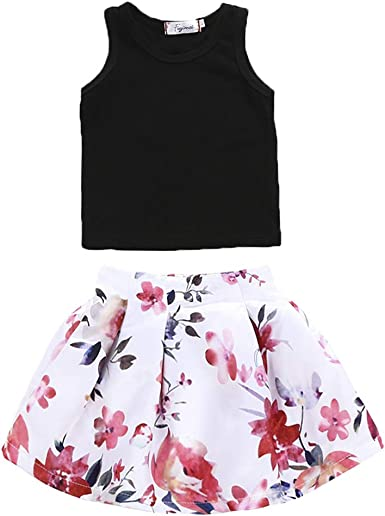 Infant Baby Kids Girl Sleeveless Flouncing Vest Top Floral Print Skirt Outfits