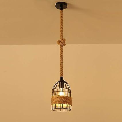 XSPWXN Retro Industria cáñamo Cuerda lámpara Colgante de ...