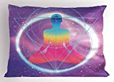 Ambesonne Indie Pillow Sham, Human Silhouette Lotus Position Triangles Circles Galaxy Meditation Yoga, Decorative Standard Queen Size Printed Pillowcase, 30 X 20 inches, Lavander Pink Blue