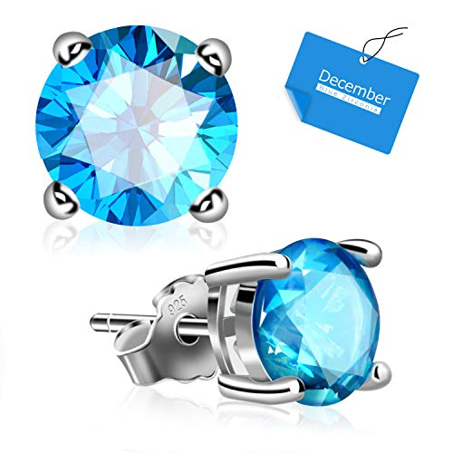 (UHIBROS Sterling Silver Birthstone Stud Earrings Round Cubic Zirconia Diamond December)