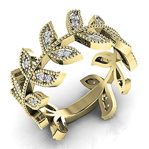 0.25 Carat (ctw) 14K Yellow Gold Round Diamond Vintage Style Wedding Eternity Band 1/4 (Style Diamond Eternity Band)