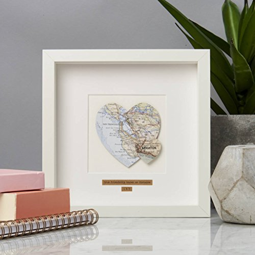Personalized Double Heart Map Picture by Posh Totty Designs