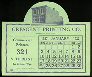 Amazon crescent printing la crosse wi tent card calendar for crescent printing la crosse wi tent card calendar for january 1937 reheart Image collections
