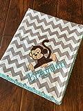 Monkey Blanket- Personalized Baby Blanket-Monkey Baby Blanket