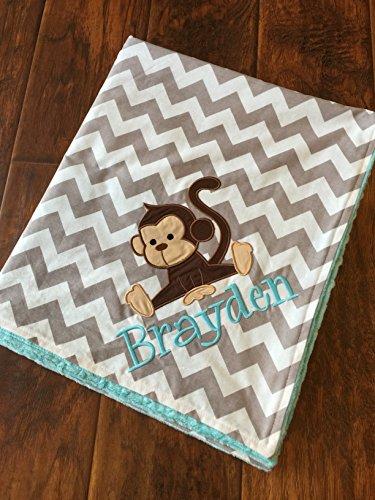 Monkey Blanket- Personalized Baby Blanket-Monkey Baby Blanket by Funny Farm Creations