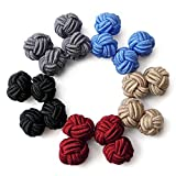 Honey Bear Silk Knot Cufflinks - 5 Pairs Mens Monochrome Set with Gift Case (round 5 with box)