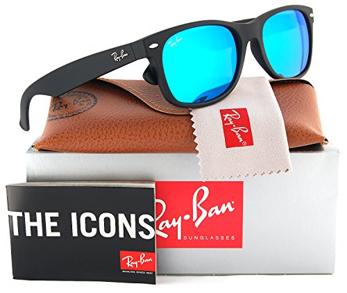 Ray-Ban RB2132 Large New Wayfarer Sunglasses Matte Black w/Blue Mirror (622/17) 2132 62217 55mm - Wayfarer New Rb2132