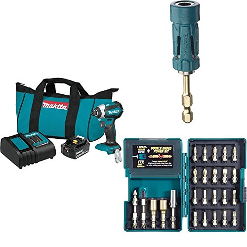 Makita XDT131 18V LXT Lithium-Ion Brushless Cordless Impact Driver Kit (3.0Ah) with B-35097 Impact GOLD Ultra-Magnetic Torsion Insert Bit Holder with B-46919 Impact GOLD 26 Pc. Torsion Bit Set