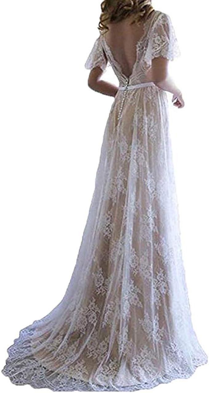 Fashionbride Women S Bohemian Wedding Dresses Short Sleeve V Neck Lace Beach Wedding Gowns Ed73 At Amazon Women S Clothing Store