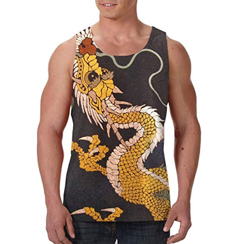 Summer Men's Boys Undershirt Crewneck Japanese Dragon King Sleeveless Vest for Golf Gym Holiday, Hip Pop Standard-Fit Daily Wear Active Athletic Tank Top (Tank Medium Japanese)