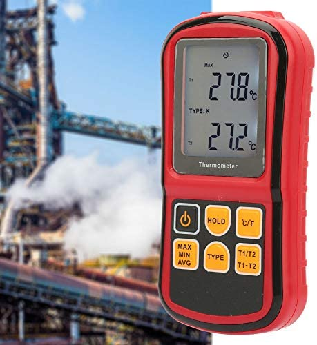 GM1312 Temperature Meter Digital Thermocouple Thermometer Dual-Channel LCD Display Temperature Meter Tester for Surface Temperatures of Various Products