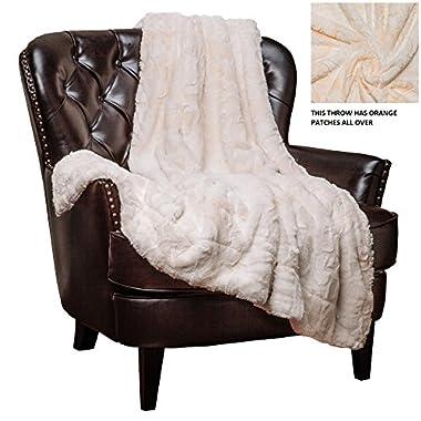 Chanasya Super Soft Fuzzy Fur Faux Fur Cozy Warm Fluffy Beautiful Color Variatiion Print Plush Sherpa Ivory Fur Bed Blanket - Ivory and Light Orange Waivy Fur Pattern Queen/Full