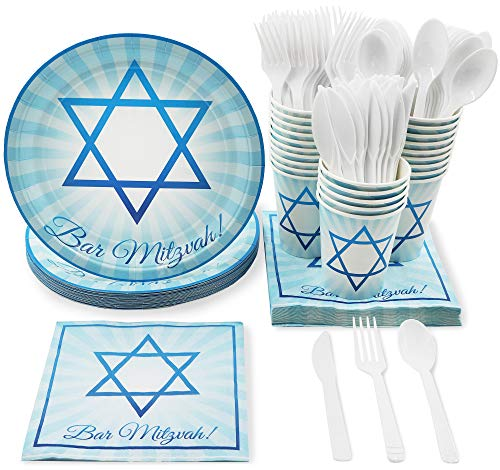 Blue Panda Jewish Bar Mitzvah Party Supplies - Plates, Knives, Spoons, Forks, Napkins, and Cups, Serves 24