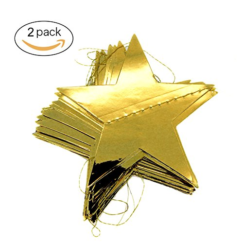 Rock Star Matte - 2PCS Sparkling Gold Star Garland for Party Decorations Baby Shower (4 inch in Diameter,13 Feet) (Glitter gold)