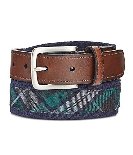 - Preppy Fabric with Ribbon Inlay Men's Belt (32, Navy)