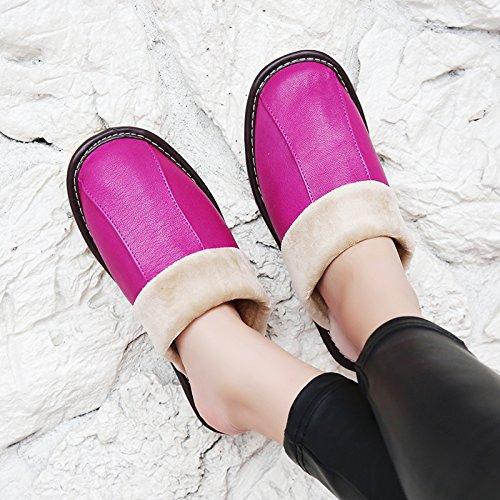Soggiorno fankou Autunno Inverno cotone pantofole indoor uomini e donne coppie home pavimenti in legno caldo e pantofole inverno gancio ,35-36, rosa