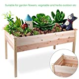Homgrace Raised Vegetable Garden Bed, Outdoor Patio Wooden Elevated Planter Flower Box